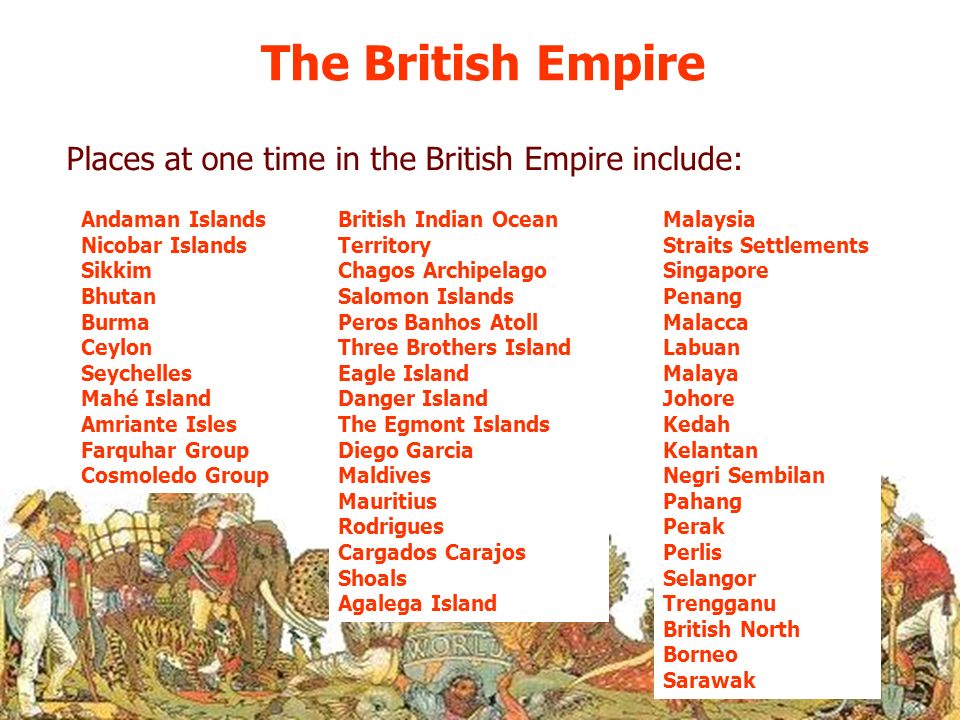 The British Empire Places at one time in the British Empire include:
