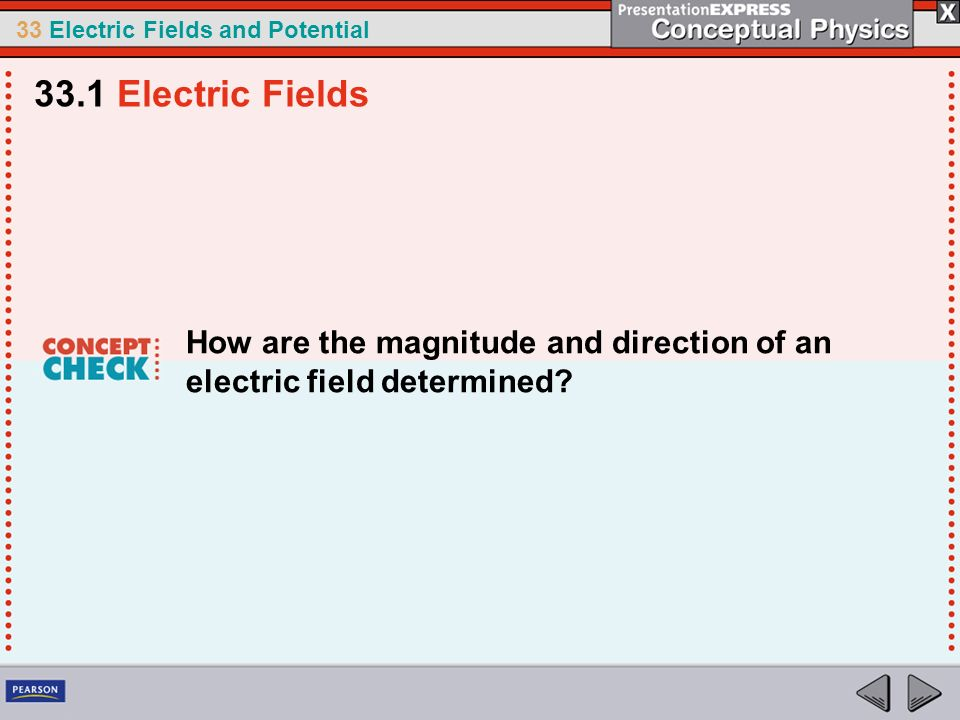 33.1 Electric Fields How are the magnitude and direction of an electric field determined