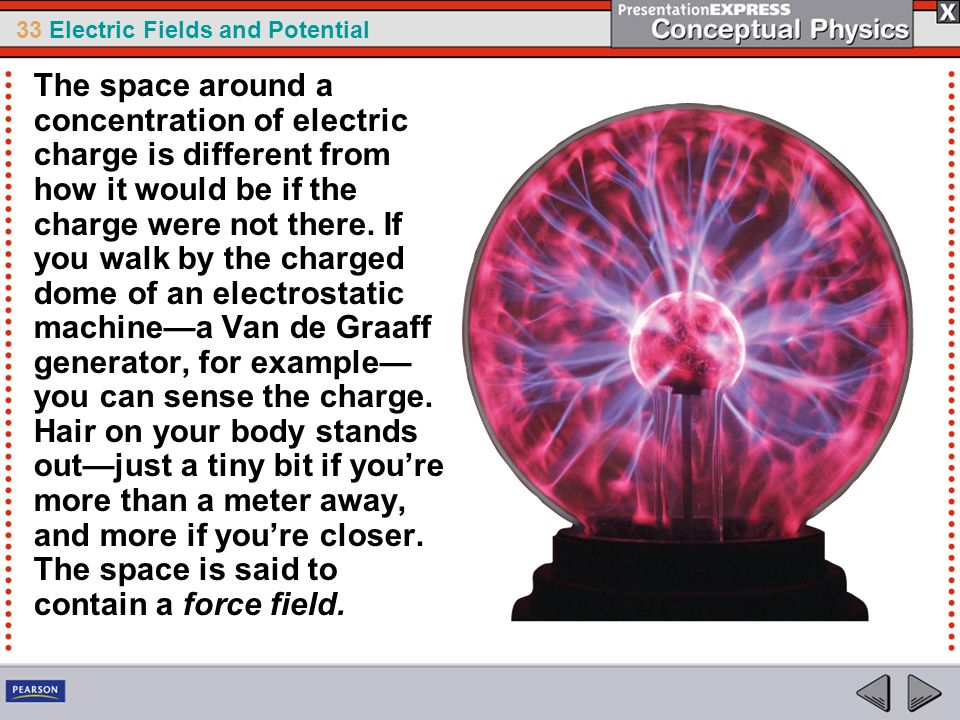 The space around a concentration of electric charge is different from how it would be if the charge were not there.