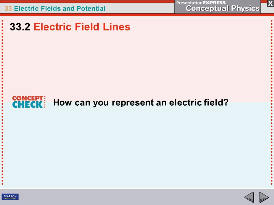 33.2 Electric Field Lines How can you represent an electric field