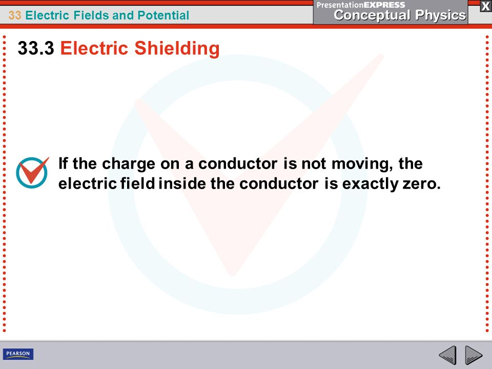 33.3 Electric Shielding If the charge on a conductor is not moving, the electric field inside the conductor is exactly zero.