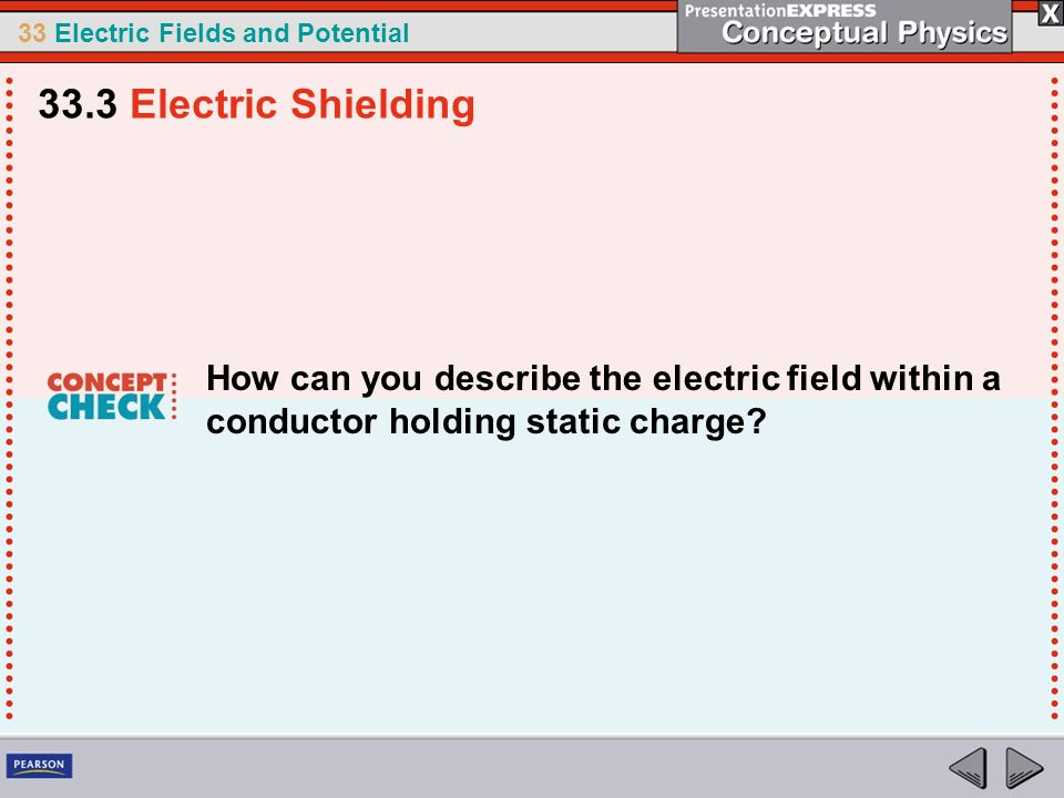 33.3 Electric Shielding How can you describe the electric field within a conductor holding static charge