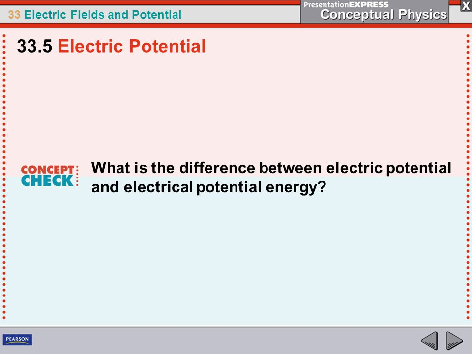 33.5 Electric Potential What is the difference between electric potential and electrical potential energy