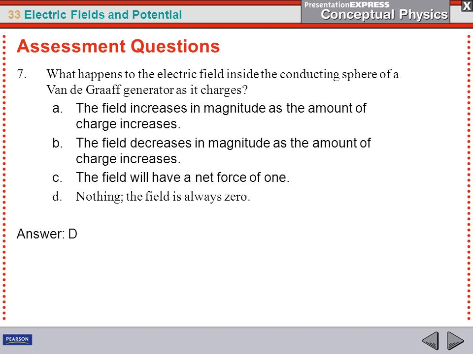 Assessment Questions What happens to the electric field inside the conducting sphere of a Van de Graaff generator as it charges