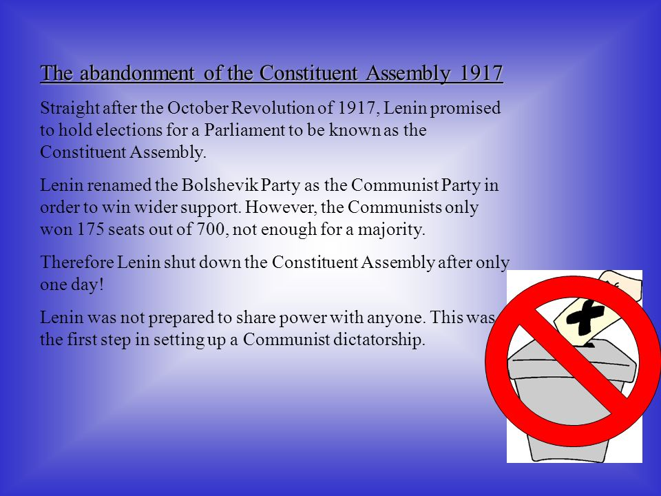 The abandonment of the Constituent Assembly 1917