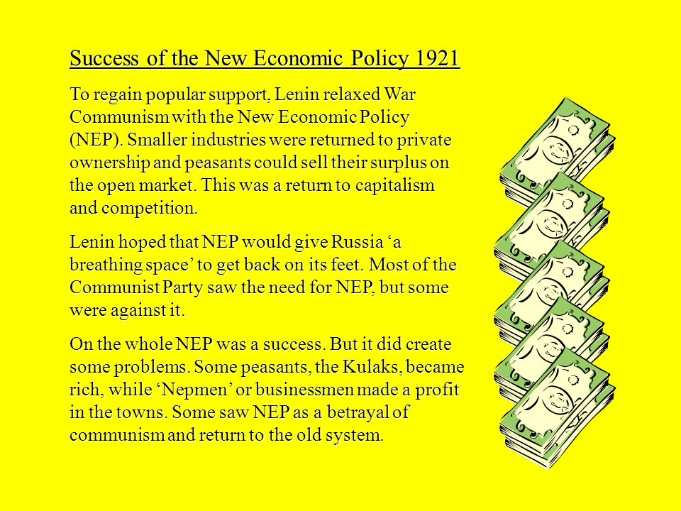 Success of the New Economic Policy 1921