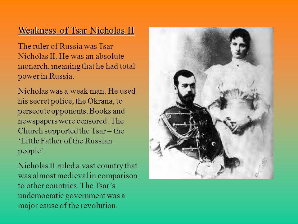 Weakness of Tsar Nicholas II
