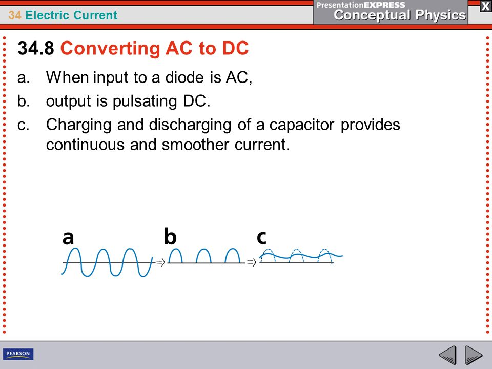 34.8 Converting AC to DC When input to a diode is AC,