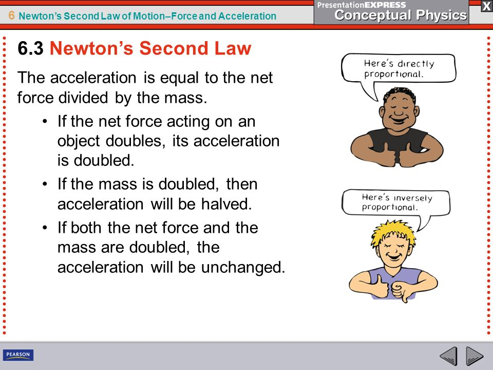 6.3 Newton's Second Law The acceleration is equal to the net force divided by the mass.