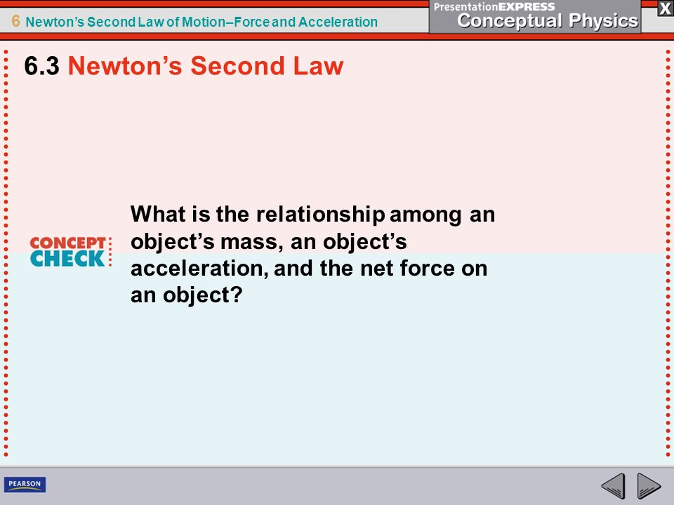 6.3 Newton's Second Law What is the relationship among an object's mass, an object's acceleration, and the net force on an object
