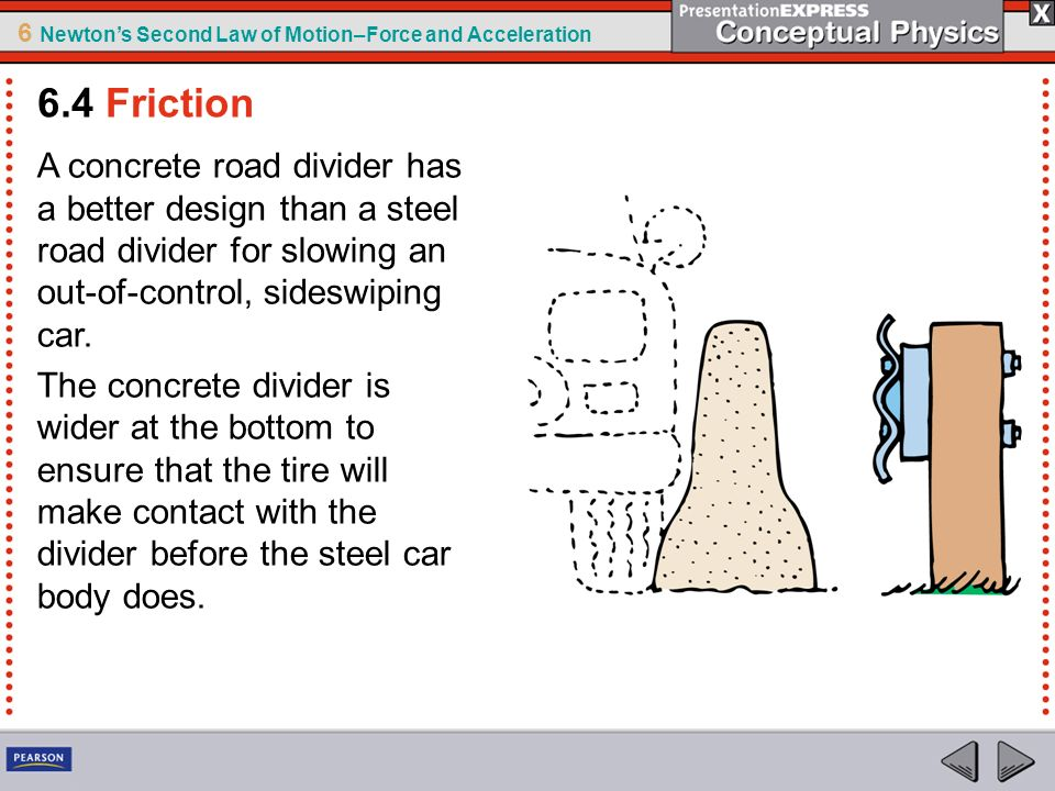 6.4 Friction A concrete road divider has a better design than a steel road divider for slowing an out-of-control, sideswiping car.