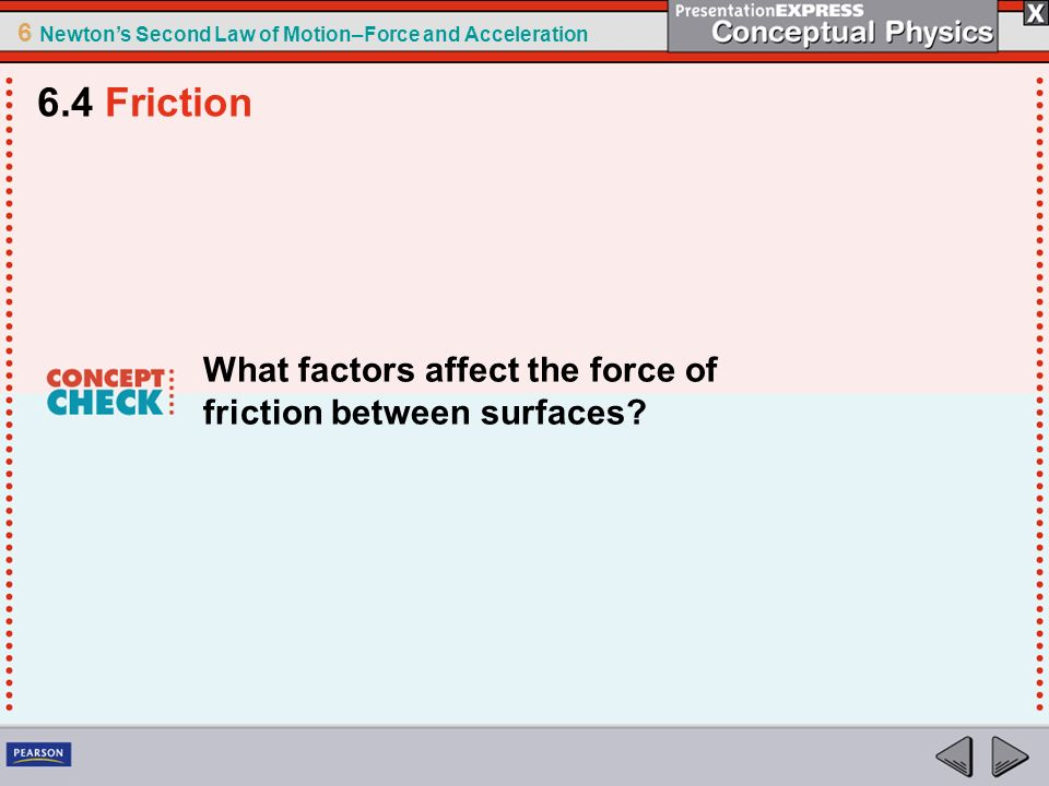 6.4 Friction What factors affect the force of friction between surfaces