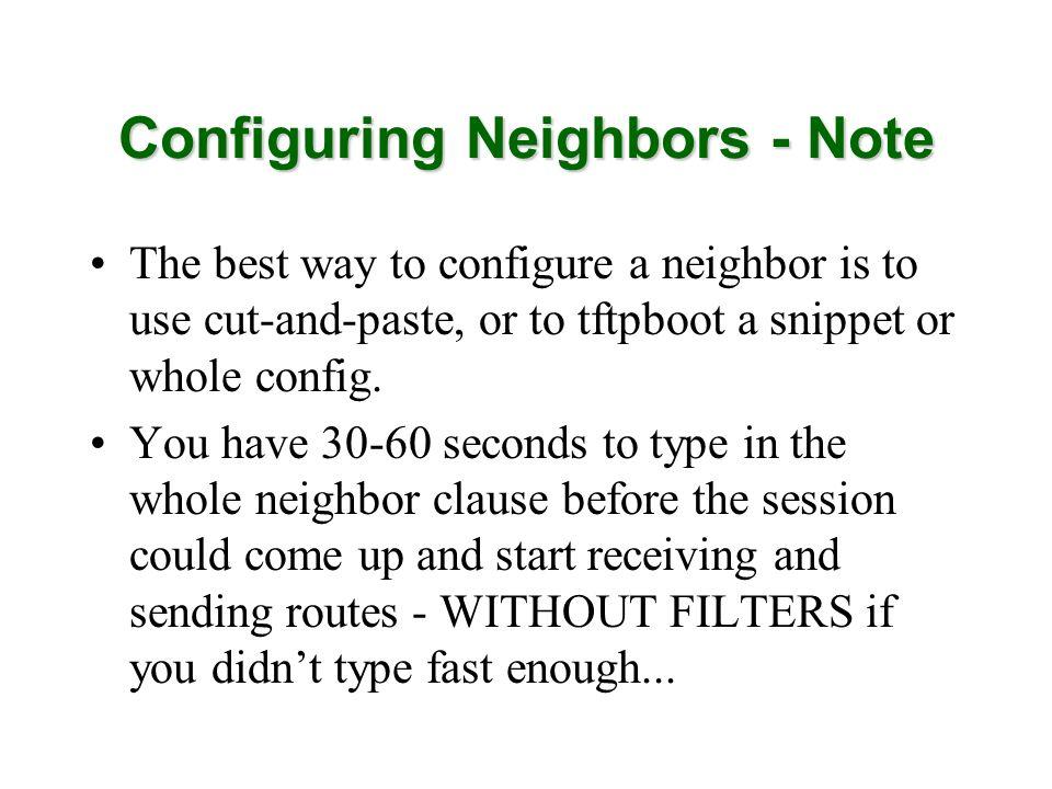 Configuring Neighbors - Note