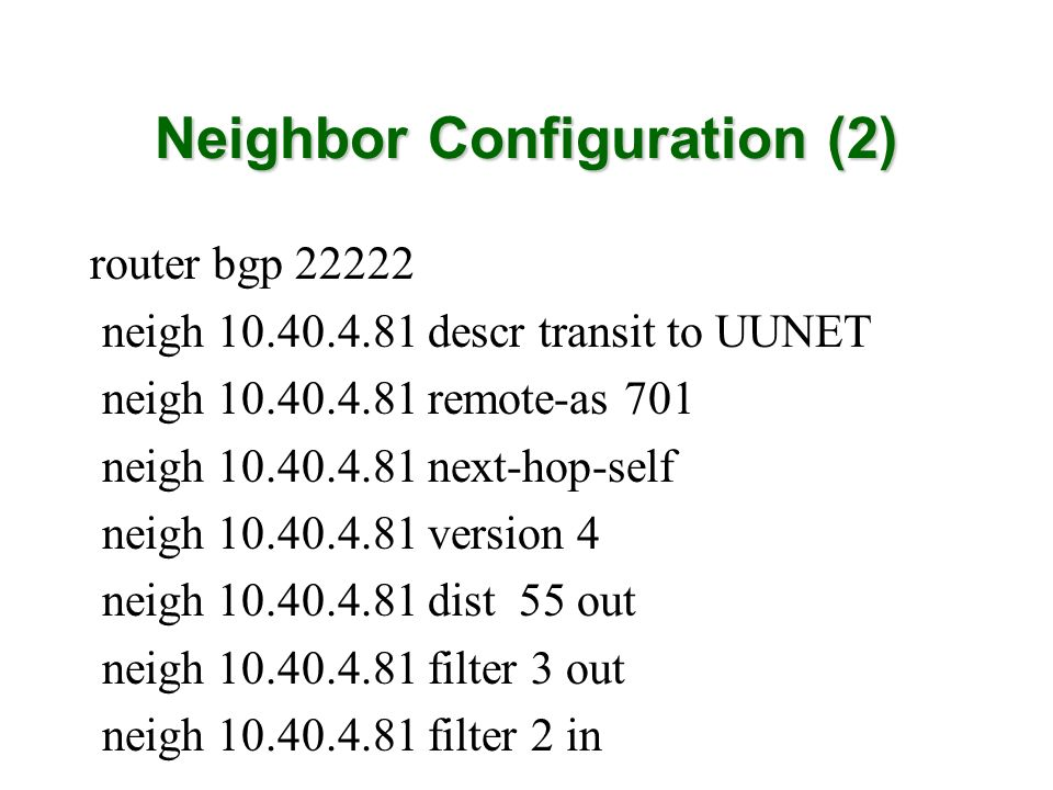 Neighbor Configuration (2)