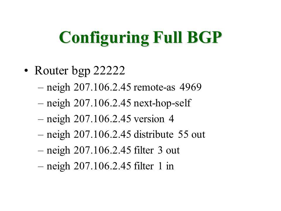 Configuring Full BGP Router bgp 22222