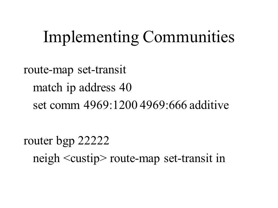 Implementing Communities