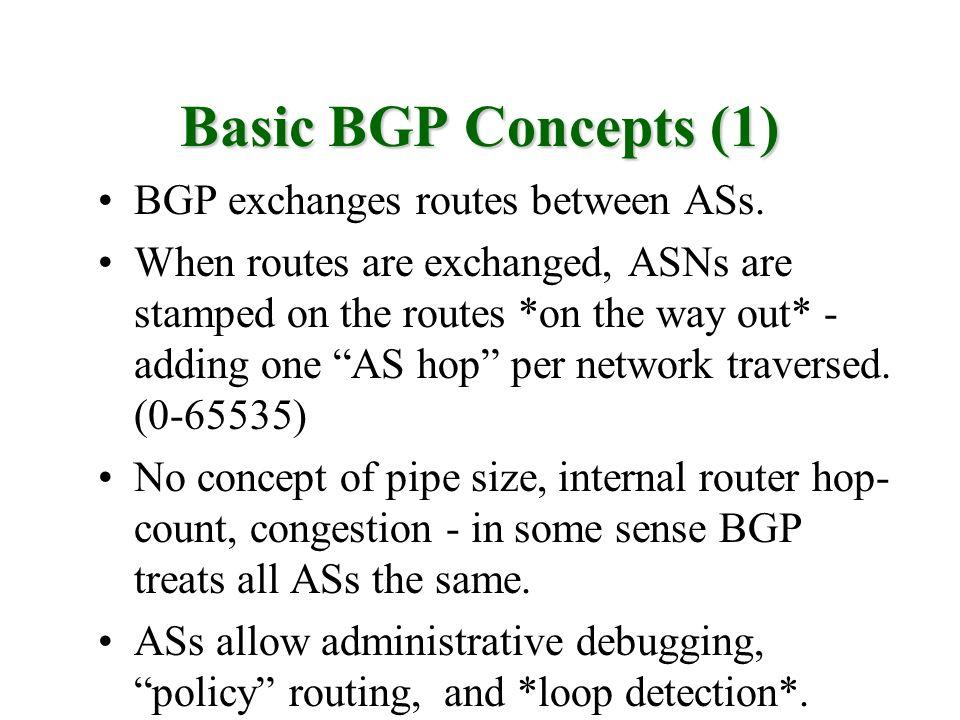 Basic BGP Concepts (1) BGP exchanges routes between ASs.