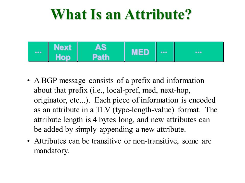 What Is an Attribute Next Hop AS Path ... ... ... MED