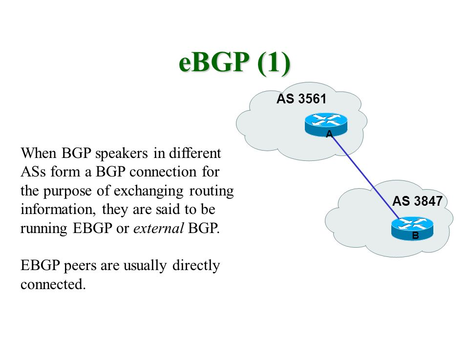 eBGP (1) When BGP speakers in different ASs form a BGP connection for