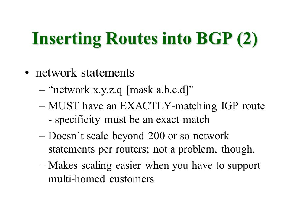 Inserting Routes into BGP (2)