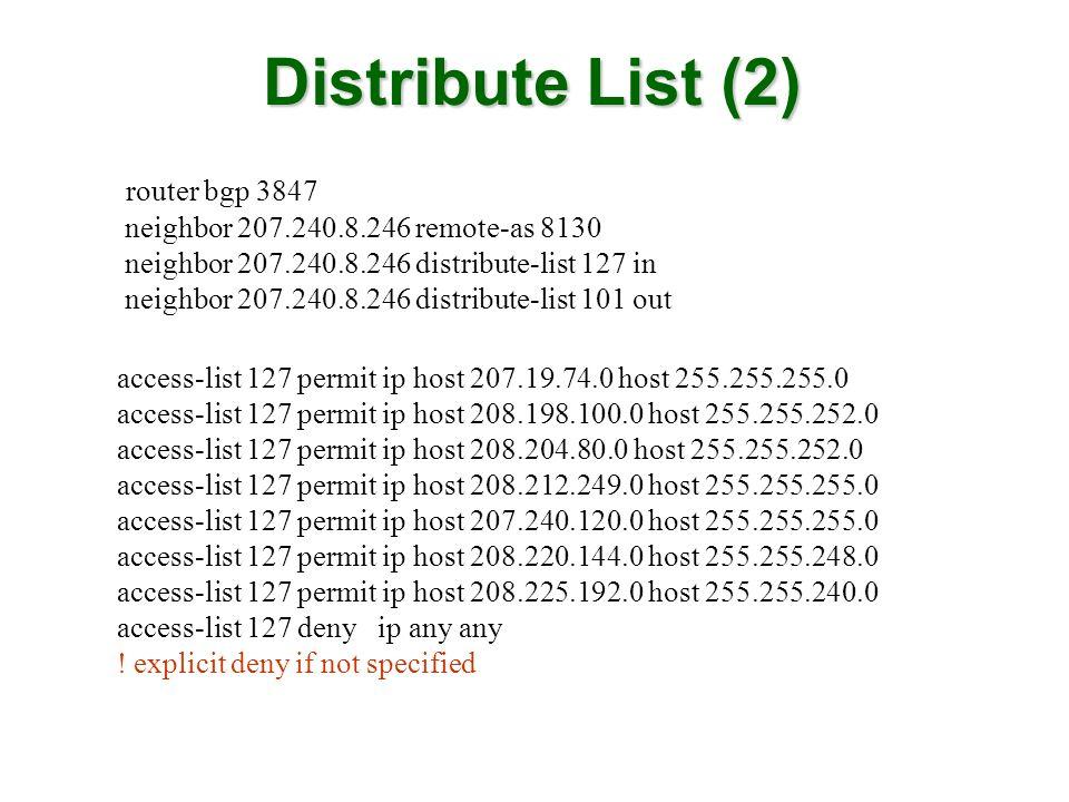 Distribute List (2) router bgp 3847