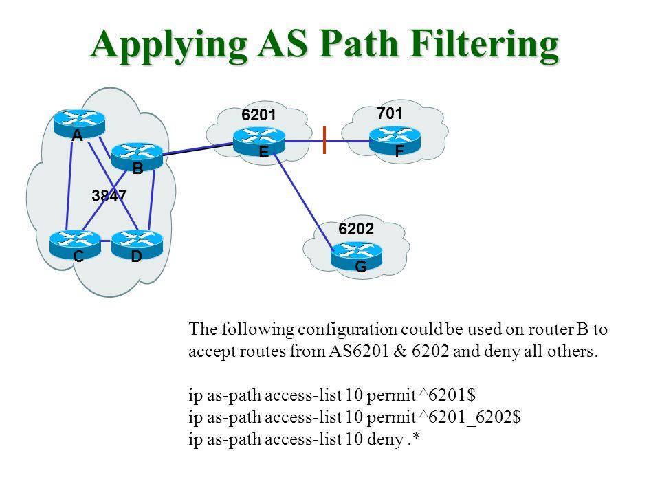 Applying AS Path Filtering