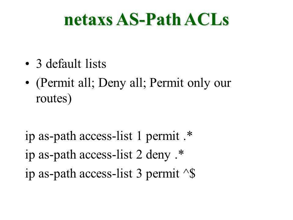 netaxs AS-Path ACLs 3 default lists
