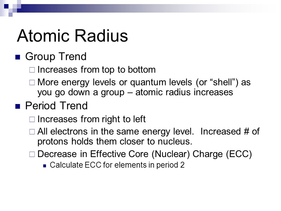 Atomic Radius Group Trend Period Trend Increases from top to bottom