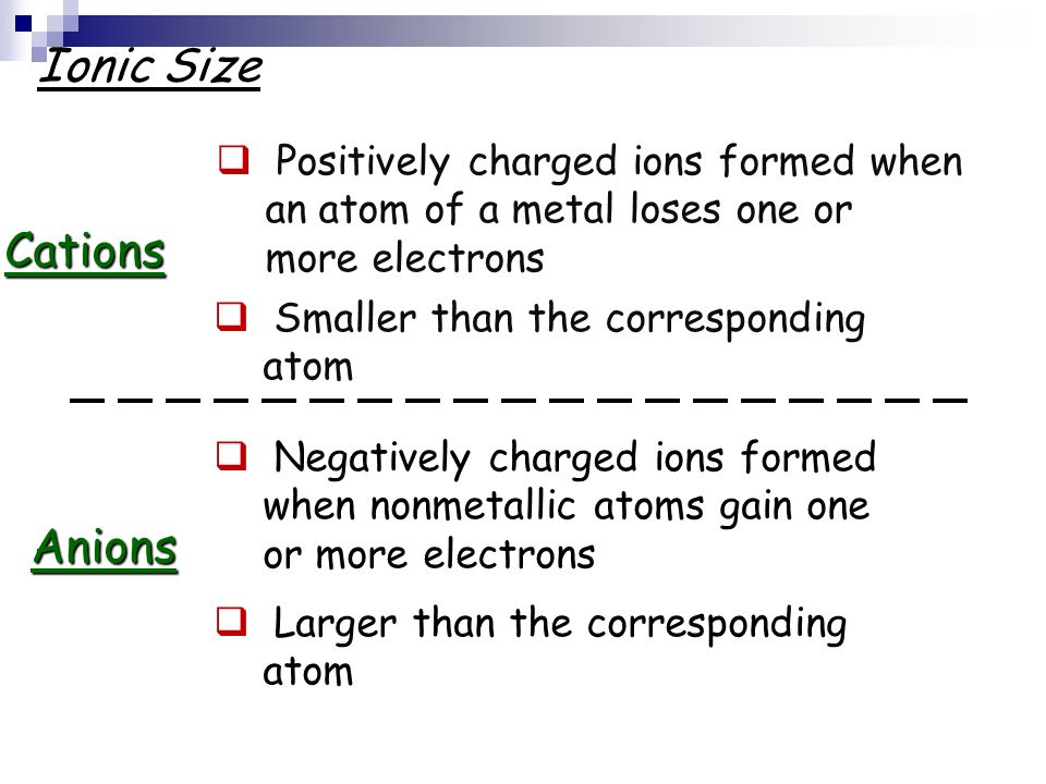 Ionic Size Cations Anions Positively charged ions formed when