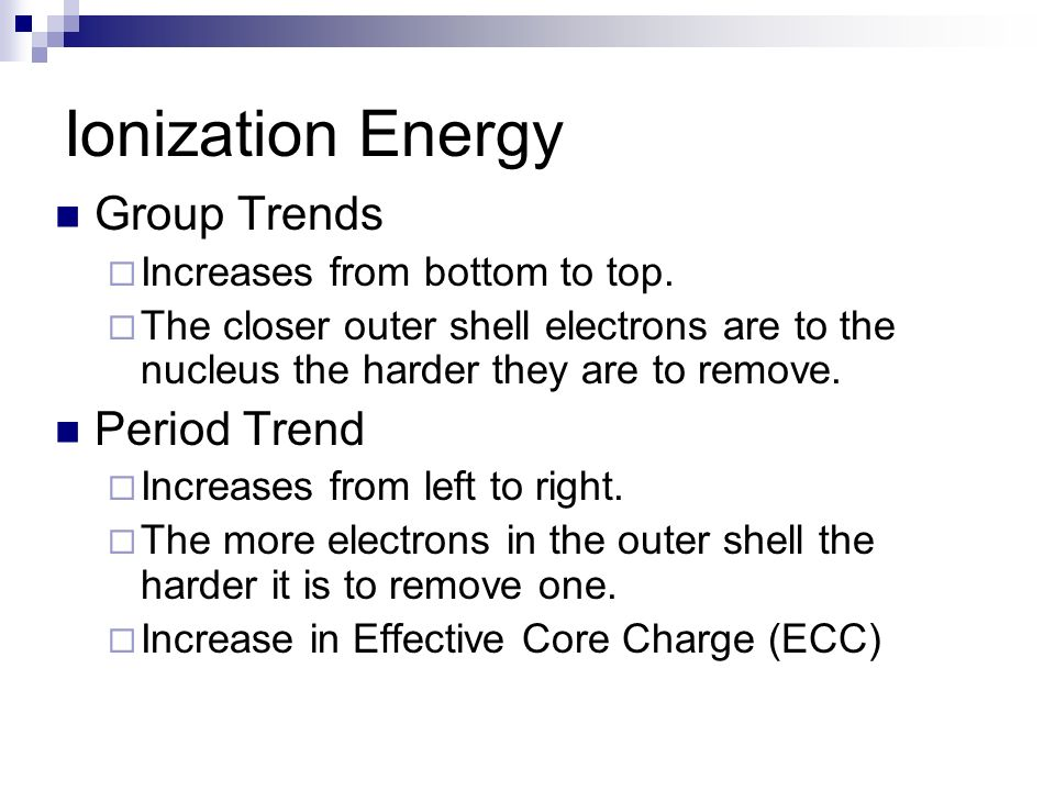 Ionization Energy Group Trends Period Trend