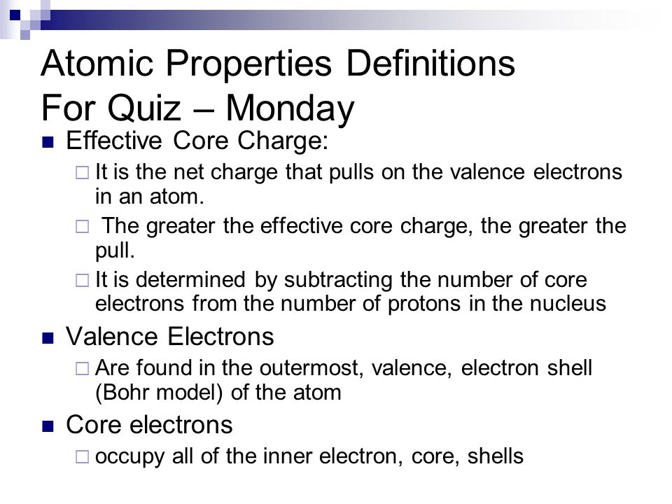 Atomic Properties Definitions For Quiz – Monday