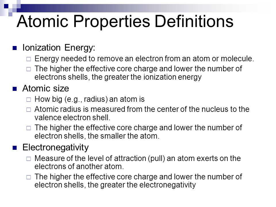 Atomic Properties Definitions