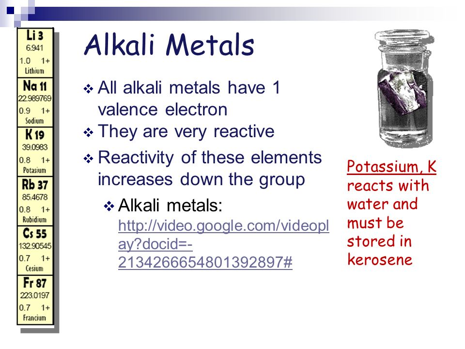 Alkali Metals All alkali metals have 1 valence electron