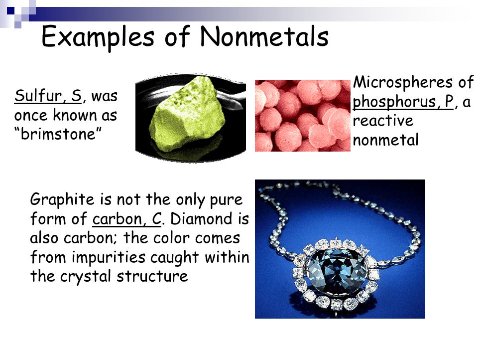 Examples of Nonmetals Microspheres of phosphorus, P, a reactive nonmetal. Sulfur, S, was once known as brimstone