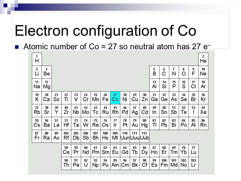 Electron configuration of Co