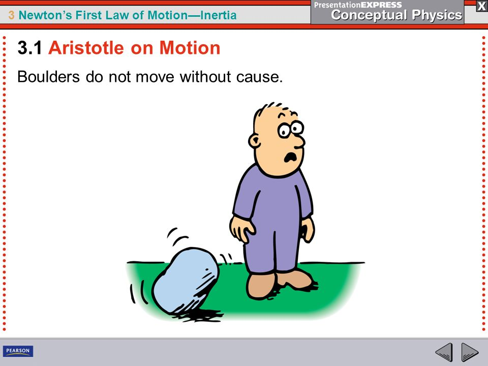 3.1 Aristotle on Motion Boulders do not move without cause.