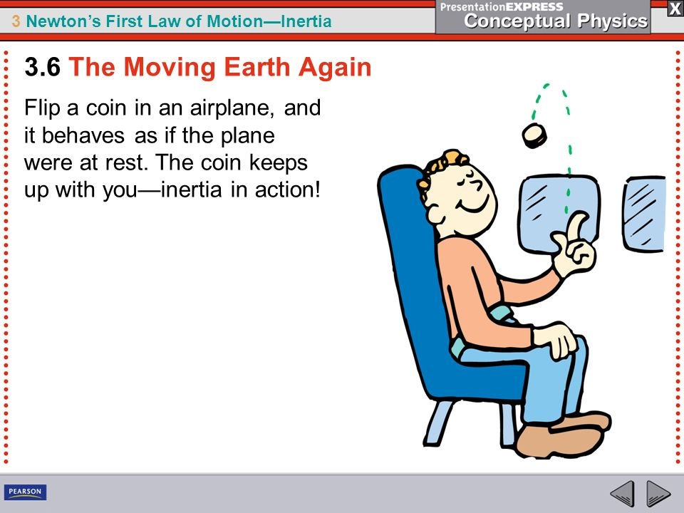 3.6 The Moving Earth Again Flip a coin in an airplane, and it behaves as if the plane were at rest.