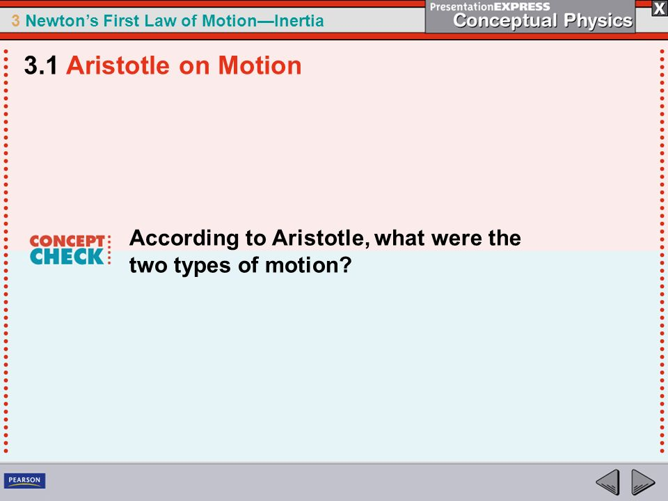 3.1 Aristotle on Motion According to Aristotle, what were the two types of motion
