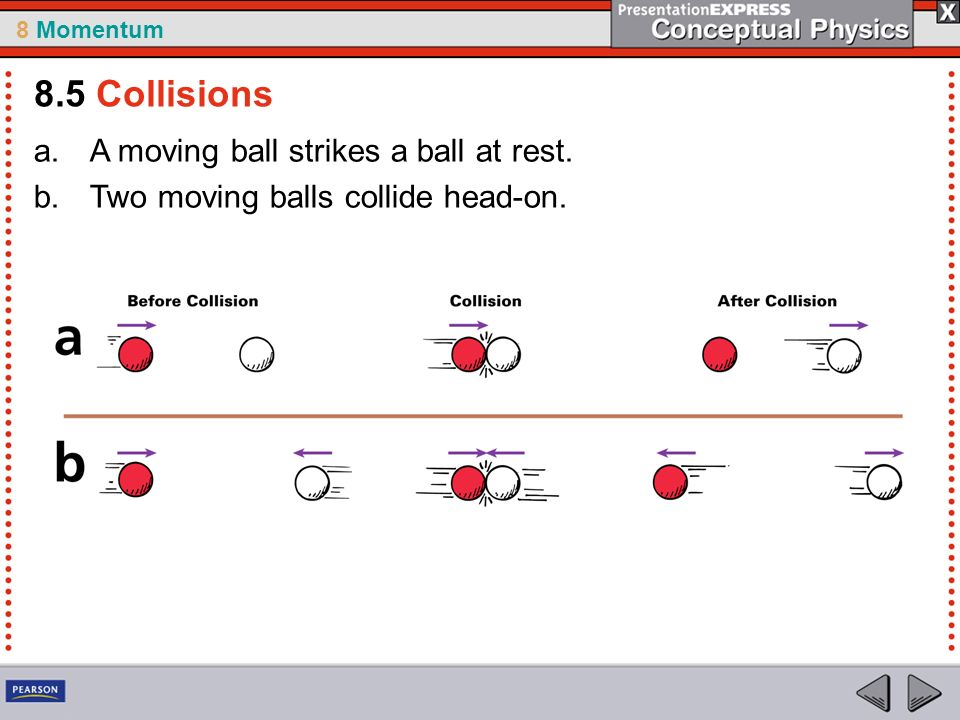 8.5 Collisions A moving ball strikes a ball at rest.