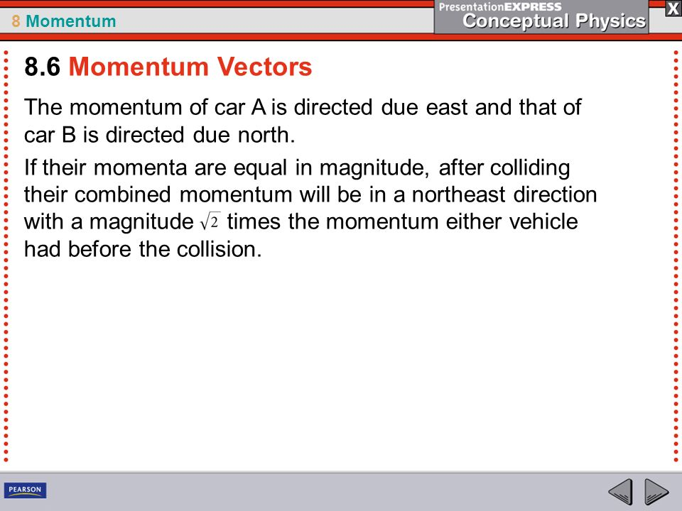 8.6 Momentum Vectors The momentum of car A is directed due east and that of car B is directed due north.