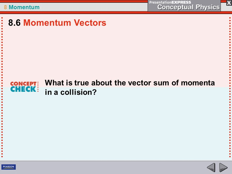 8.6 Momentum Vectors What is true about the vector sum of momenta in a collision