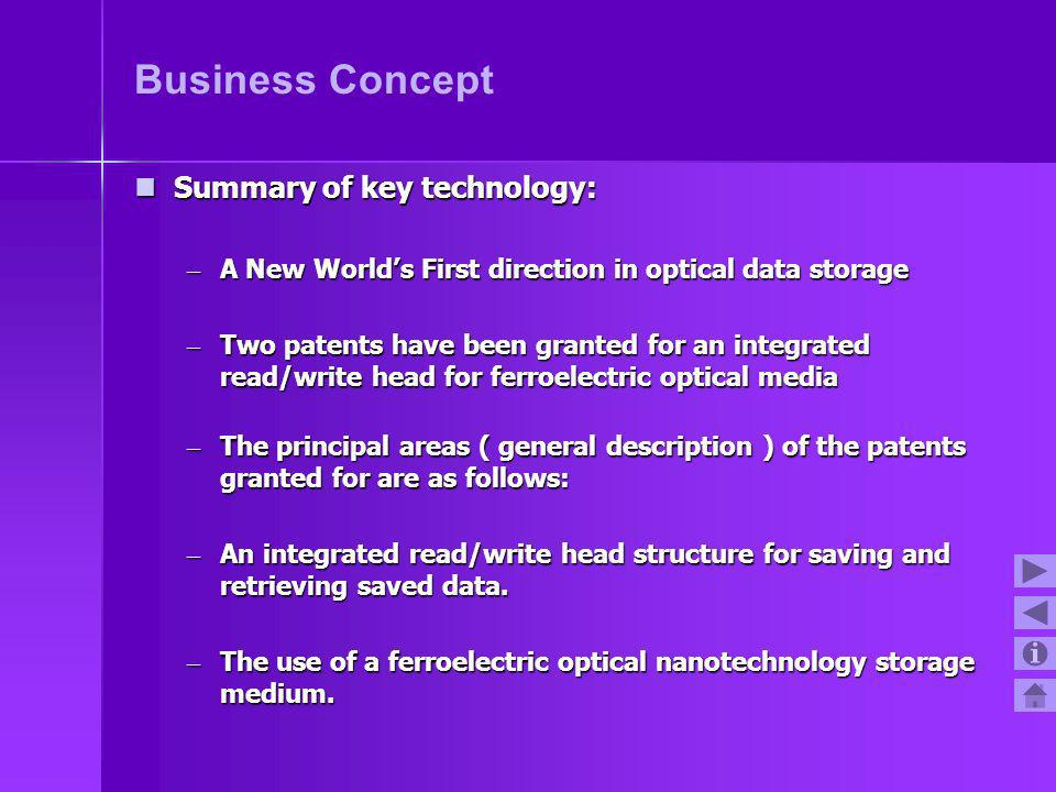Business Concept Summary of key technology: