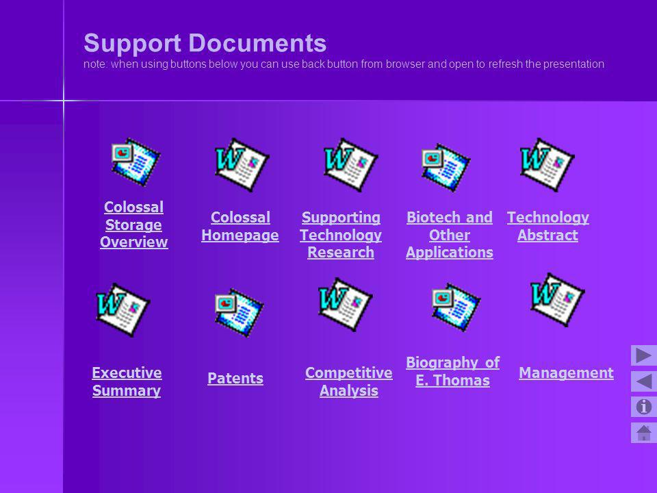 Support Documents note: when using buttons below you can use back button from browser and open to refresh the presentation
