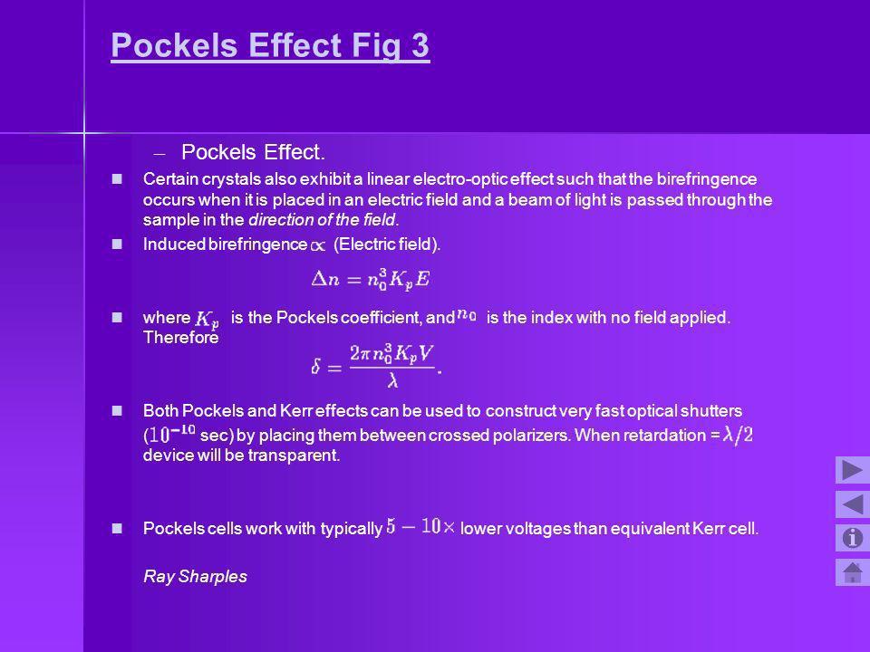 Pockels Effect Fig 3 Pockels Effect.