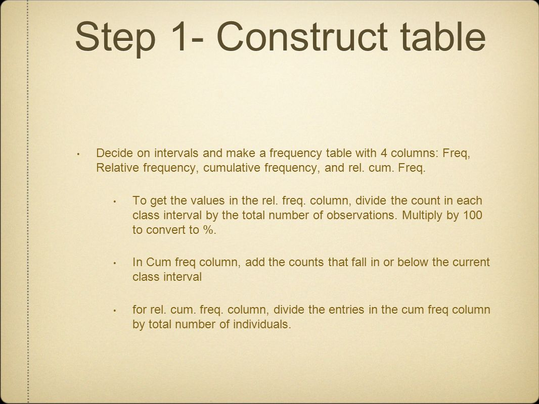 Step 1 Construct Table How To Find