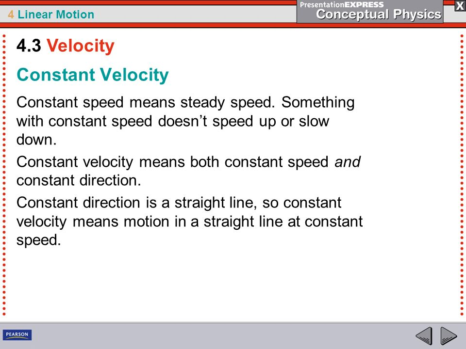 4.3 Velocity Constant Velocity