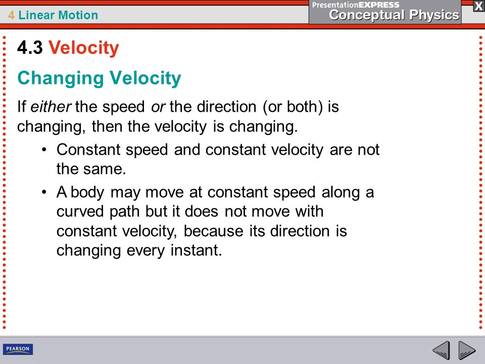 4.3 Velocity Changing Velocity