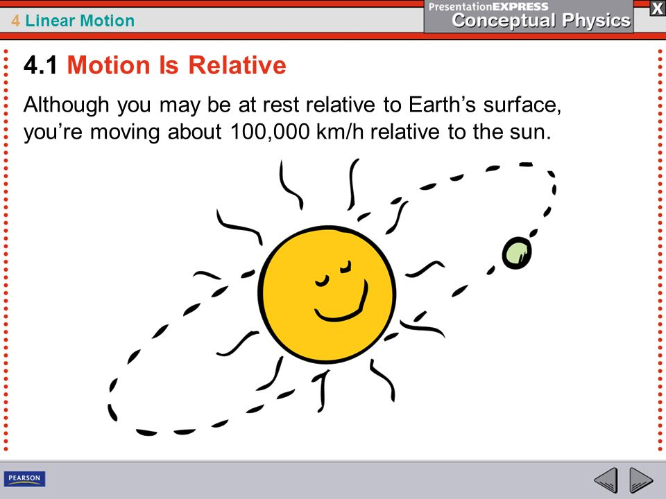 4.1 Motion Is Relative Although you may be at rest relative to Earth's surface, you're moving about 100,000 km/h relative to the sun.