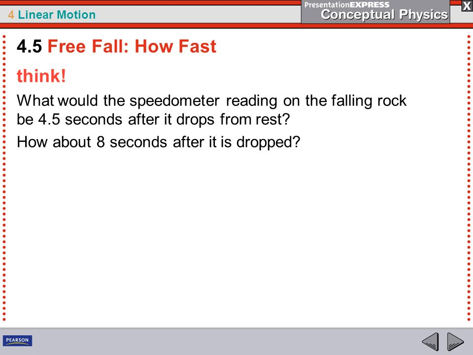 4.5 Free Fall: How Fast think!