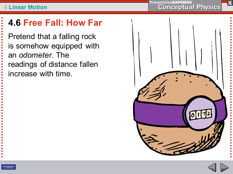 4.6 Free Fall: How Far Pretend that a falling rock is somehow equipped with an odometer.